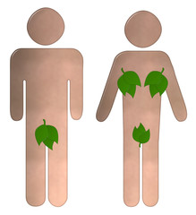 Male and Female Toilet Sign With Leaves