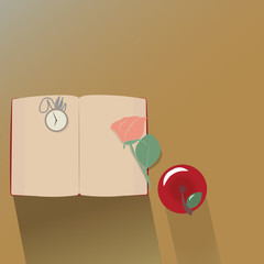 top view of classic book rose, apple and clock. vector