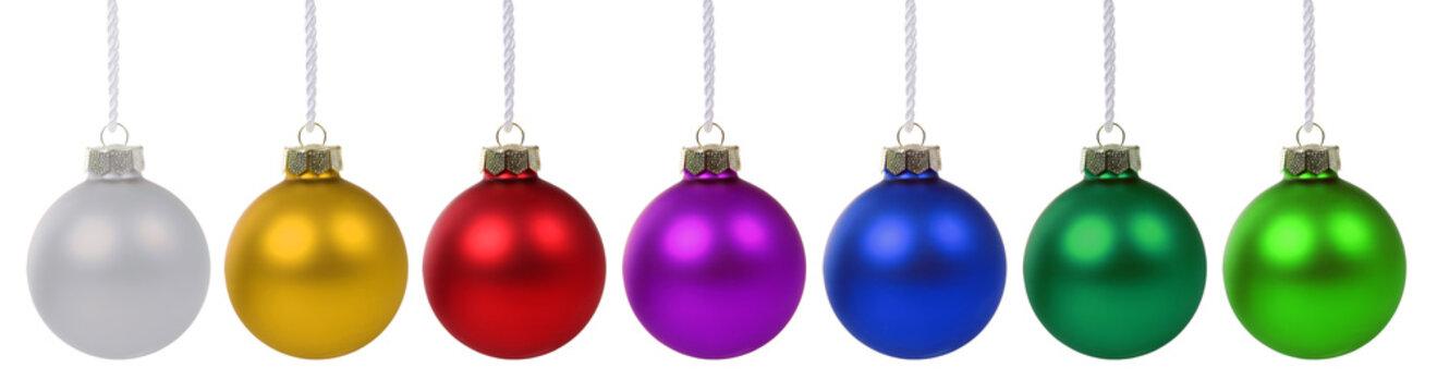 Weihnachtskugeln Weihnachten Advent bunte Kugeln in einer Reihe