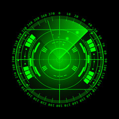 Radar screen. Vector illustration for your design. Technology background. Futuristic user interface. Radar display with scanning. HUD. Vector EPS10.