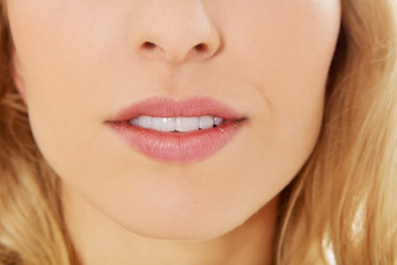 Close up photo of woman open lips