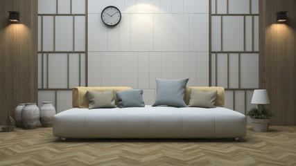 3d rendering vintage style living room with minimal design