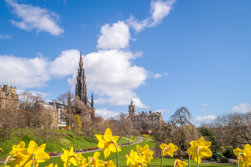 Princess Gardens and Scott Monument in Edinburgh, Scotland