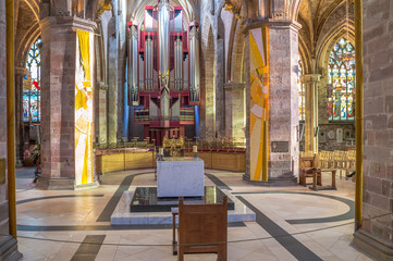 The interior with the altar and the organ of St Giles Cathedral or the High Kirk, main church of the Church of Scotland