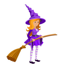 Cute teenage witch in purple dress with a broom isolated on white background