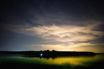 Lake and night sky