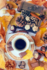 Autumn Cup of black coffee, chestnuts, pine cones, chocolate and autumn leaves. Autumn background. Autumn scene. Coffee and autumn leaves. Fall background.