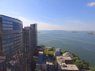Aerial image of Lower Manhattan and the Hudson River