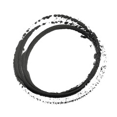 photo black grunge circle brush strokes oil paint isolated on white background