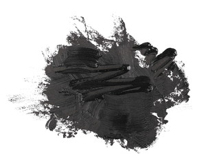 photo black grunge brush strokes oil paint isolated on white background