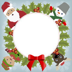 decorative round frame with Christmas elements. pattern for greeting or invitation. Christmas vector illustration