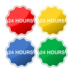 Colored buttons with text 24 hours