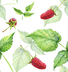 Seamless pattern. Hand drawn watercolor realistic illustration. Ripe red raspberry. Isolated on white background. Red berries. Juicy, fresh, eco-friendly.