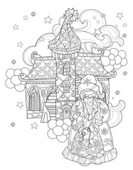Vector cute christmas fairy tale town doodle.