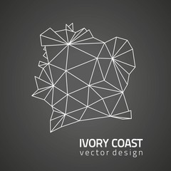 Ivory Coast vector black contour triangle map