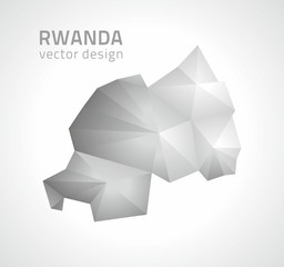 Rwanda polygonal grey and silver vector map