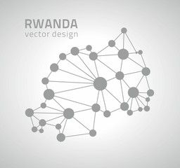 Rwanda mosaic dot grey vector outline map