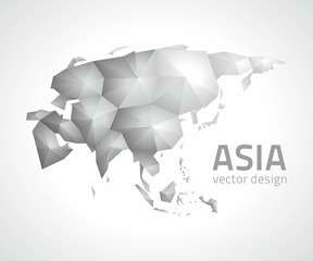 Asia triangle vector grey and silver polygonal map