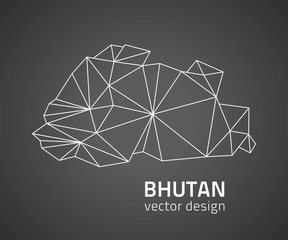 Bhutan vector black outline triangle map