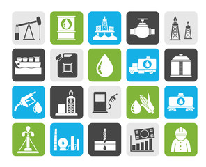 Silhouette Oil industry, Gas production, transportation and storage icons - vector icon set