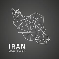Iran black outline vector map