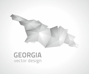 Georgia polygonal grey and silver vector map