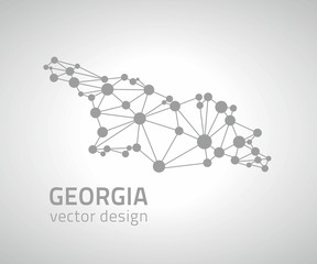 Georgia grey dot vector outline map