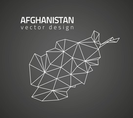 Afghanistan black perspective triangle vector map
