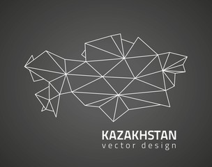 Kazakhstan black outline vector perspective map