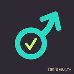 Modern vector flat icon of man sex symbol. Adult shop linear logo. Symbol of men power, good potency. Simple icon on dark background for urology clinic.