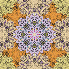 Pastel vector seamless pattern with flowery mandalas print made in oriental style. Design for wrapper, decoration, carpet or textile.