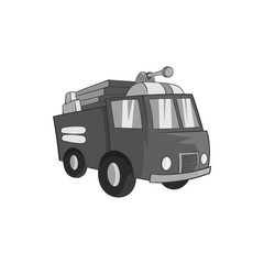 Fire truck icon in black monochrome style isolated on white background. Transport symbol vector illustration