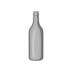 Beer bottle icon in black monochrome style isolated on white background. Alcoholic beverage symbol vector illustration