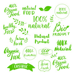 Hand drawn emblems. Eco products. Set of natural food labels
