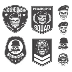 Set of military emblems and design elements. Skulls with militar