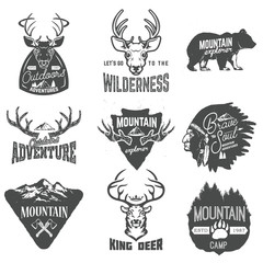 Set of outdoors adventures, mountains exploration labels and bad