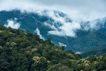 Mountains in tropical rainforest valley landscape with fog at Mo