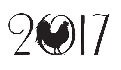 Vector Illustration of  Rooster, Symbol of 2017 Year on the Chin