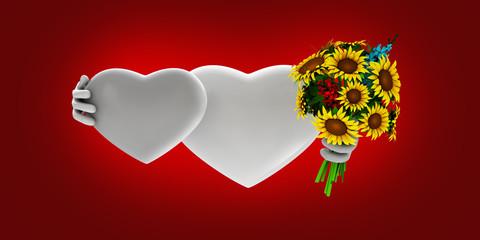 3d Illustration of lovely hearts