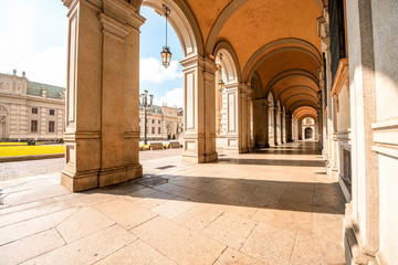 Arch gallery on San Carlo square in the old city center of Turin in Italy