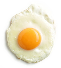 Photo on textile frame Egg fried egg on white background