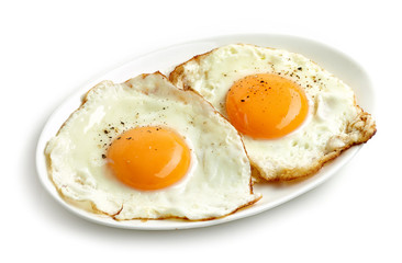 Photo on textile frame Egg fried eggs on white background