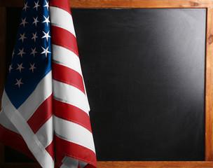 US flag on chalkboard background