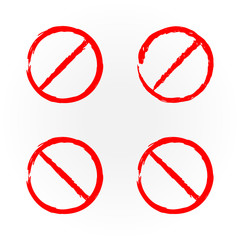 Set of templates for design red prohibition signs. Four elements.