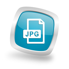 jpg file square blue glossy chrome silver metallic web icon