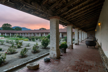 Wall Mural - Courtyard at sunset at the Mission San Antonio de Padua near Jolon, California