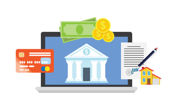 Online banking theme, flat style