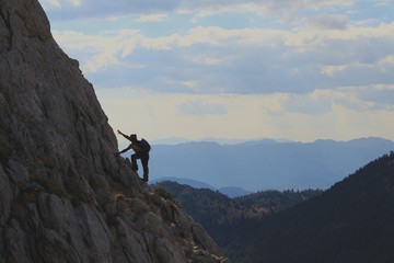 Tırmanış Yapan Dağcı Konsepti