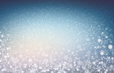 Soft lights and snow on christmas blue background