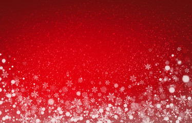 Soft lights and snow on christmas red background